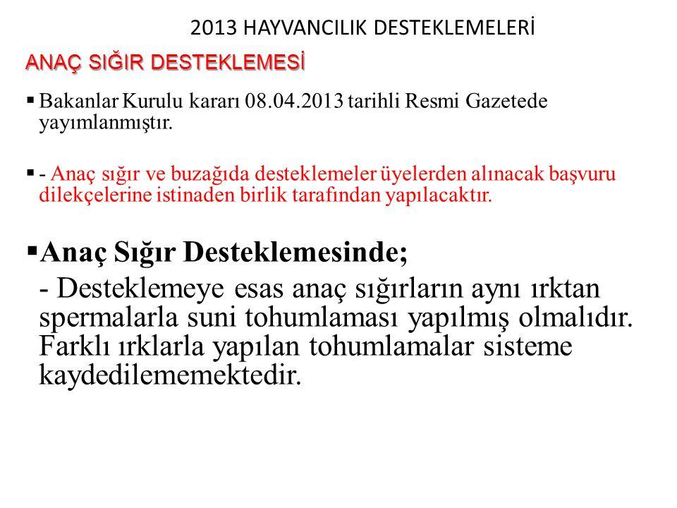 2013 HAYVANCILIK DESTEKLEMELERİ ANAÇ SIĞIR DESTEKLEMESİ  Bakanlar Kurulu kararı 08.04.2013 tarihli Resmi Gazetede yayımlanmıştır.  - Anaç sığır ve b