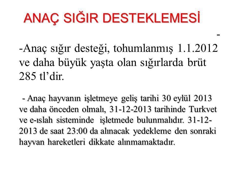 -Yetiştirici 31-12-2013 tarihine kadar e-ıslah sisteminde işletmesinin güncellemesini yaptırmakla yükümlüdür.