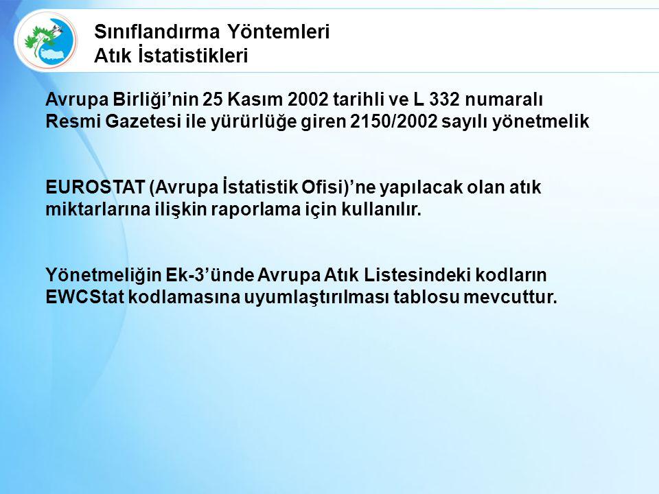 Avrupa Birliği'nin 25 Kasım 2002 tarihli ve L 332 numaralı Resmi Gazetesi ile yürürlüğe giren 2150/2002 sayılı yönetmelik EUROSTAT (Avrupa İstatistik