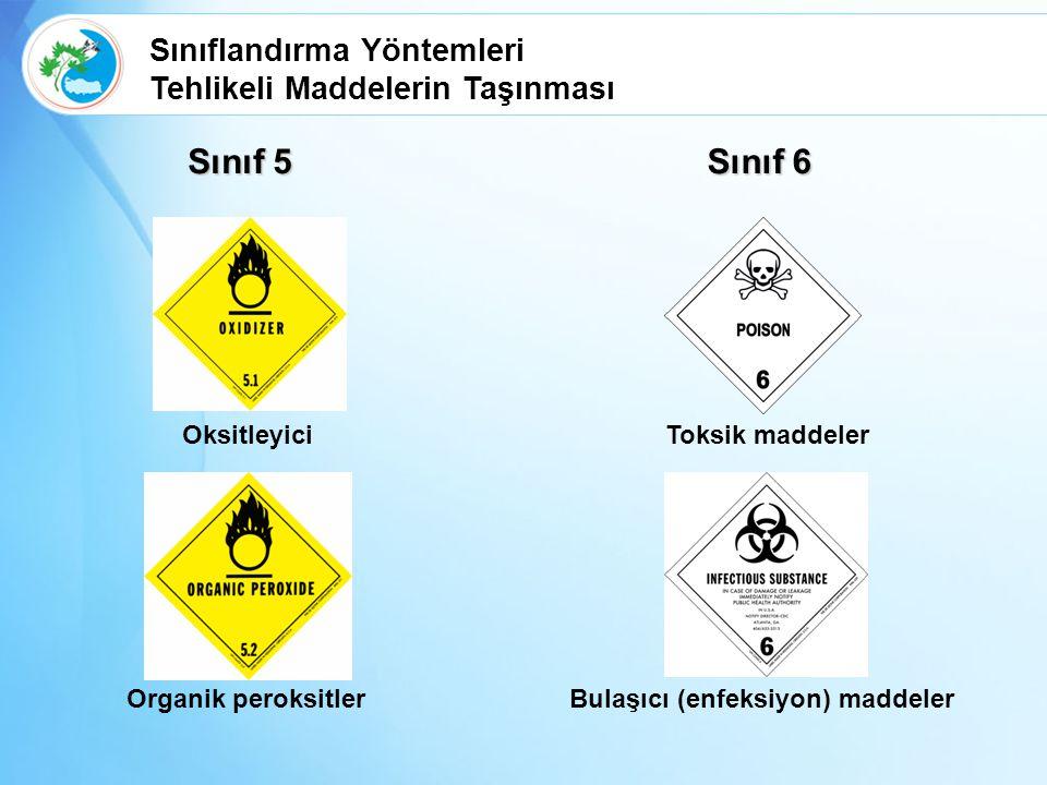 Sınıf 5 Oksitleyici Organik peroksitler Sınıf 6 Toksik maddeler Bulaşıcı (enfeksiyon) maddeler Sınıflandırma Yöntemleri Tehlikeli Maddelerin Taşınması