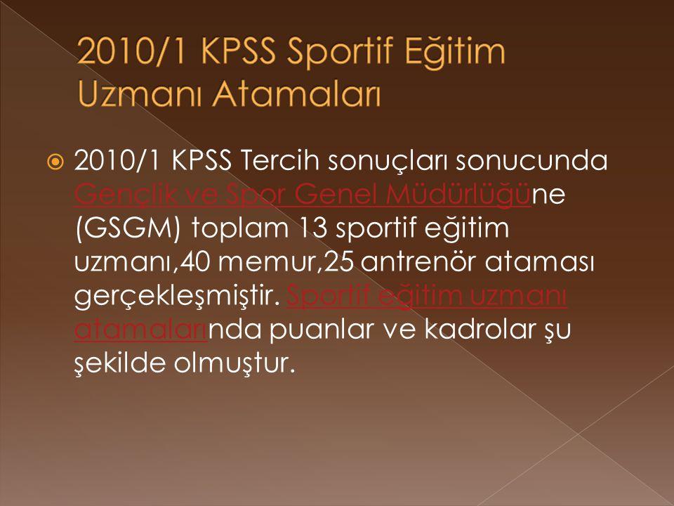  2010/1 KPSS Tercih sonuçları sonucunda Gençlik ve Spor Genel Müdürlüğüne (GSGM) toplam 13 sportif eğitim uzmanı,40 memur,25 antrenör ataması gerçekleşmiştir.