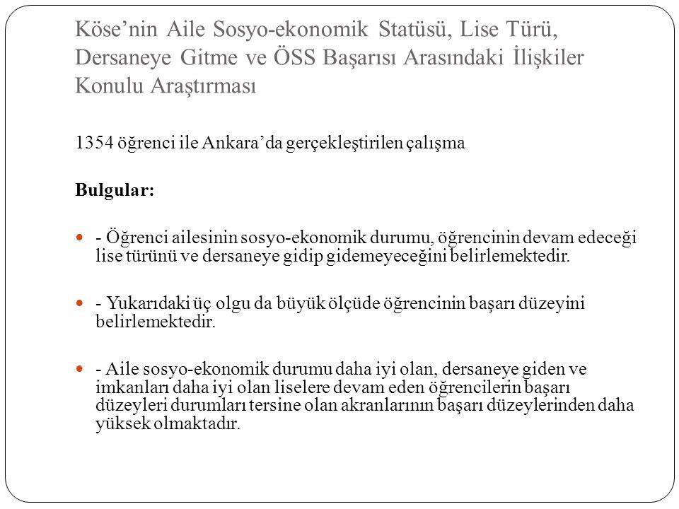Köse'nin Aile Sosyo-ekonomik Statüsü, Lise Türü, Dersaneye Gitme ve ÖSS Başarısı Arasındaki İlişkiler Konulu Araştırması 1354 öğrenci ile Ankara'da ge
