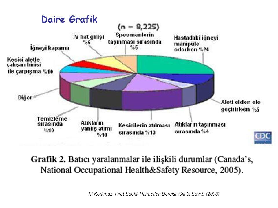 M Korkmaz. Fırat Saglık Hizmetleri Dergisi, Cilt:3, Sayı:9 (2008) Daire Grafik