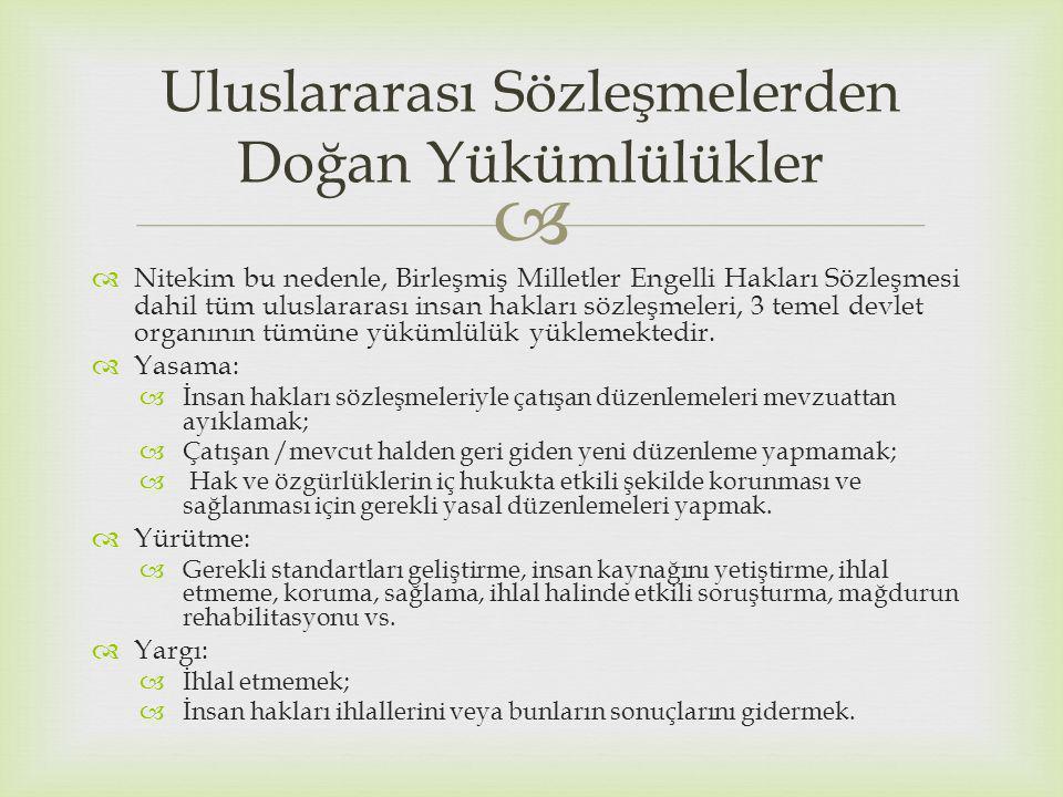   Nitekim bu nedenle, Birleşmiş Milletler Engelli Hakları Sözleşmesi dahil tüm uluslararası insan hakları sözleşmeleri, 3 temel devlet organının tümüne yükümlülük yüklemektedir.