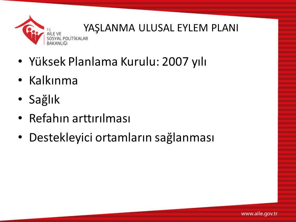 YAŞLANMA ULUSAL EYLEM PLANI Yüksek Planlama Kurulu: 2007 yılı Kalkınma Sağlık Refahın arttırılması Destekleyici ortamların sağlanması
