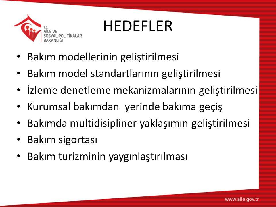 HEDEFLER Bakım modellerinin geliştirilmesi Bakım model standartlarının geliştirilmesi İzleme denetleme mekanizmalarının geliştirilmesi Kurumsal bakımd