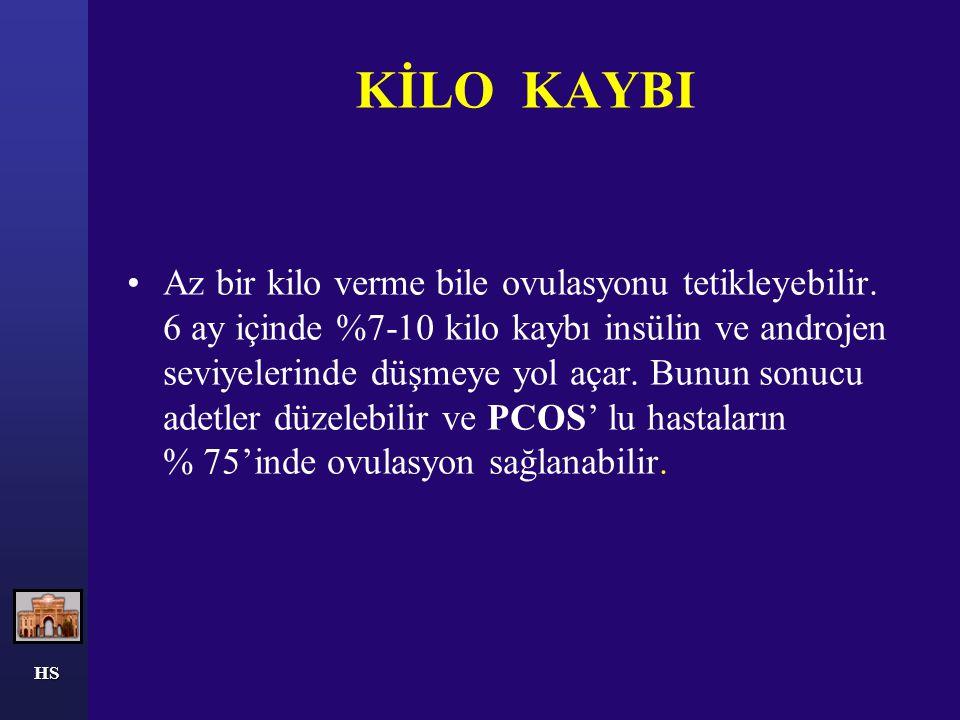 HS KİLO KAYBI Az bir kilo verme bile ovulasyonu tetikleyebilir. 6 ay içinde %7-10 kilo kaybı insülin ve androjen seviyelerinde düşmeye yol açar. Bunun