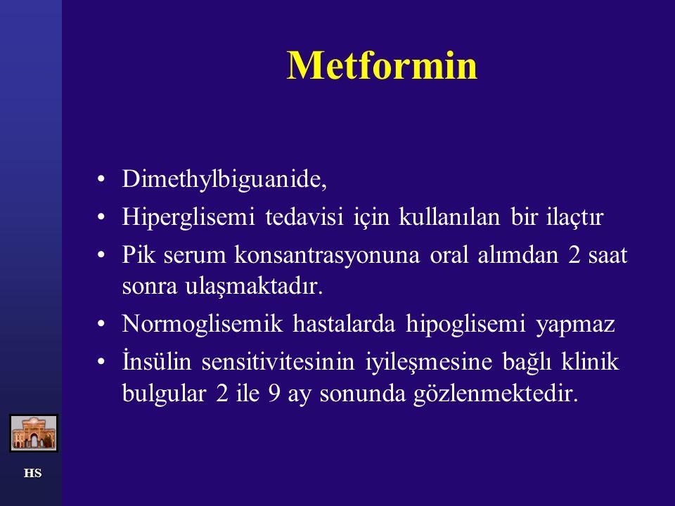 Metformin Dimethylbiguanide, Hiperglisemi tedavisi için kullanılan bir ilaçtır Pik serum konsantrasyonuna oral alımdan 2 saat sonra ulaşmaktadır. Norm