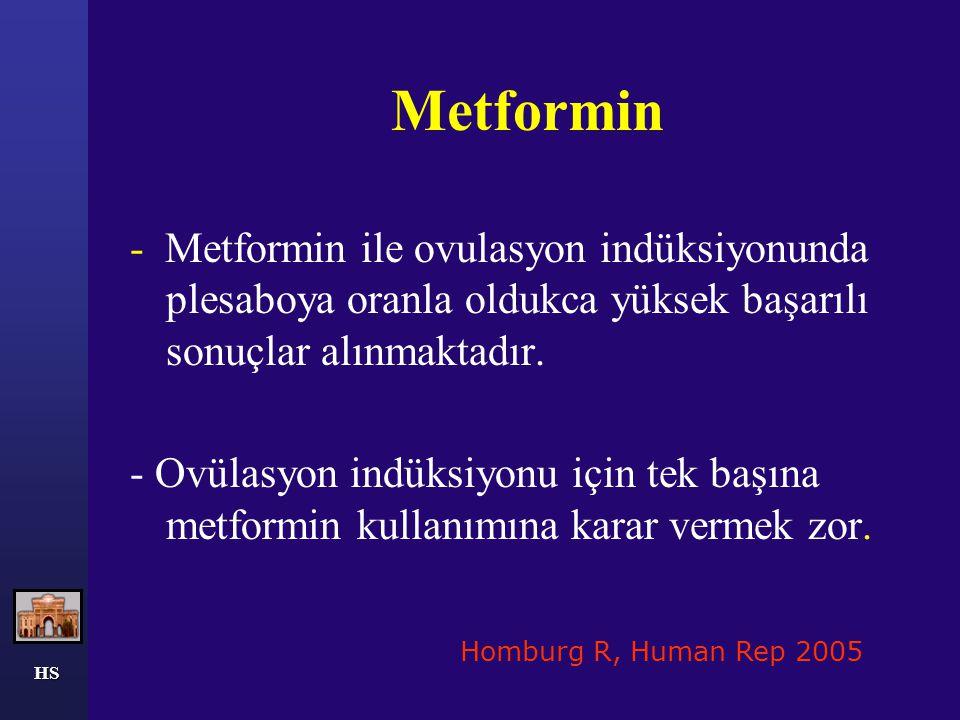 Metformin - Metformin ile ovulasyon indüksiyonunda plesaboya oranla oldukca yüksek başarılı sonuçlar alınmaktadır. - Ovülasyon indüksiyonu için tek ba