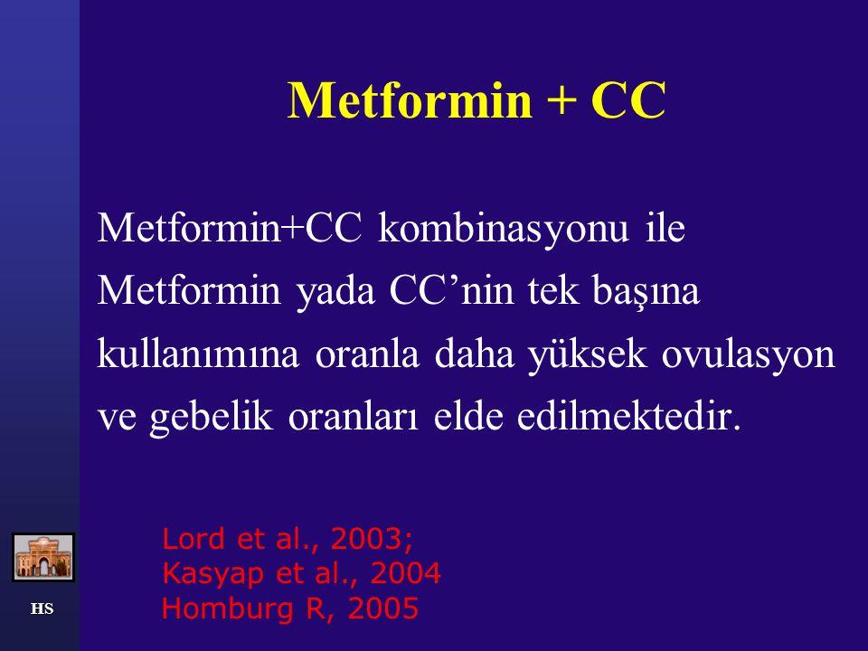 Metformin + CC Metformin+CC kombinasyonu ile Metformin yada CC'nin tek başına kullanımına oranla daha yüksek ovulasyon ve gebelik oranları elde edilme