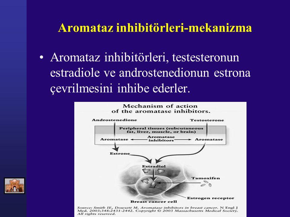 Aromataz inhibitörleri-mekanizma Aromataz inhibitörleri, testesteronun estradiole ve androstenedionun estrona çevrilmesini inhibe ederler.