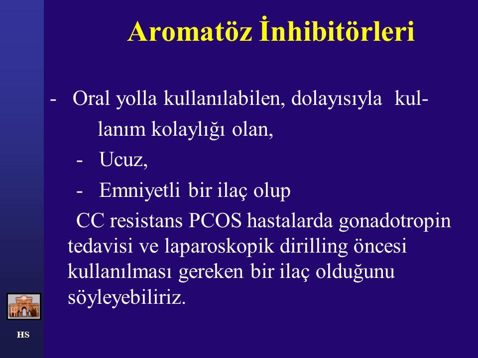 Aromatöz İnhibitörleri - Oral yolla kullanılabilen, dolayısıyla kul- lanım kolaylığı olan, - Ucuz, - Emniyetli bir ilaç olup CC resistans PCOS hastala