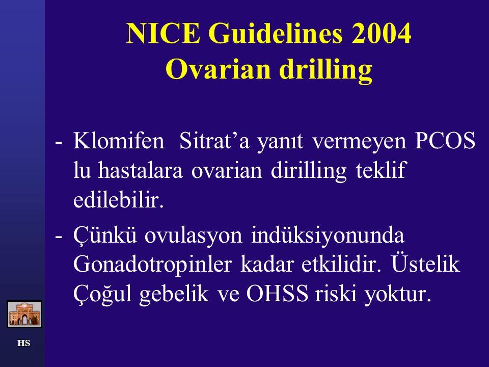 NICE Guidelines 2004 Ovarian drilling -Klomifen Sitrat'a yanıt vermeyen PCOS lu hastalara ovarian dirilling teklif edilebilir. -Çünkü ovulasyon indüks