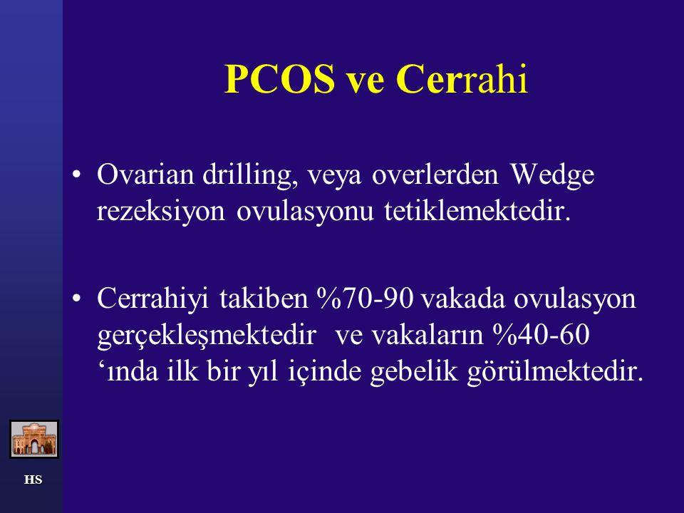 PCOS ve Cerrahi Ovarian drilling, veya overlerden Wedge rezeksiyon ovulasyonu tetiklemektedir. Cerrahiyi takiben %70-90 vakada ovulasyon gerçekleşmekt
