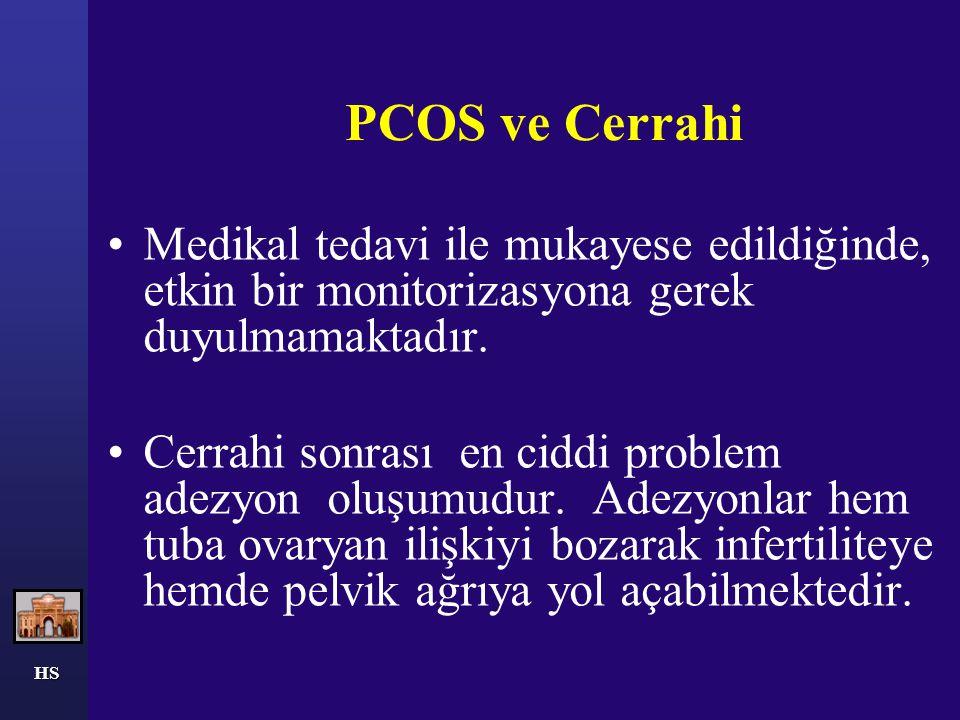 HS PCOS ve Cerrahi Medikal tedavi ile mukayese edildiğinde, etkin bir monitorizasyona gerek duyulmamaktadır. Cerrahi sonrası en ciddi problem adezyon