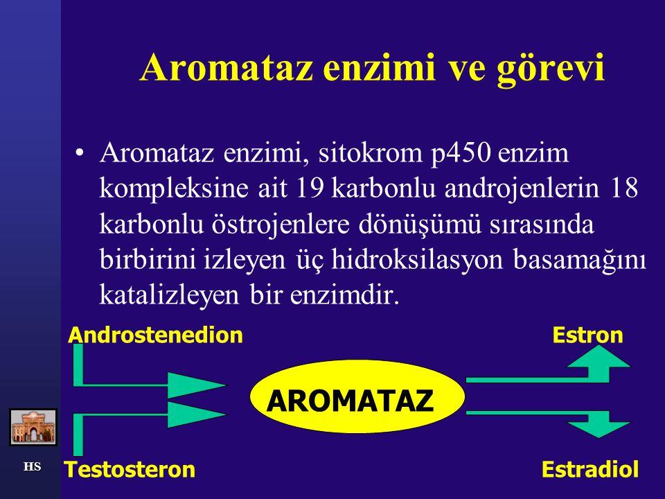 Aromataz enzimi ve görevi Aromataz enzimi, sitokrom p450 enzim kompleksine ait 19 karbonlu androjenlerin 18 karbonlu östrojenlere dönüşümü sırasında b