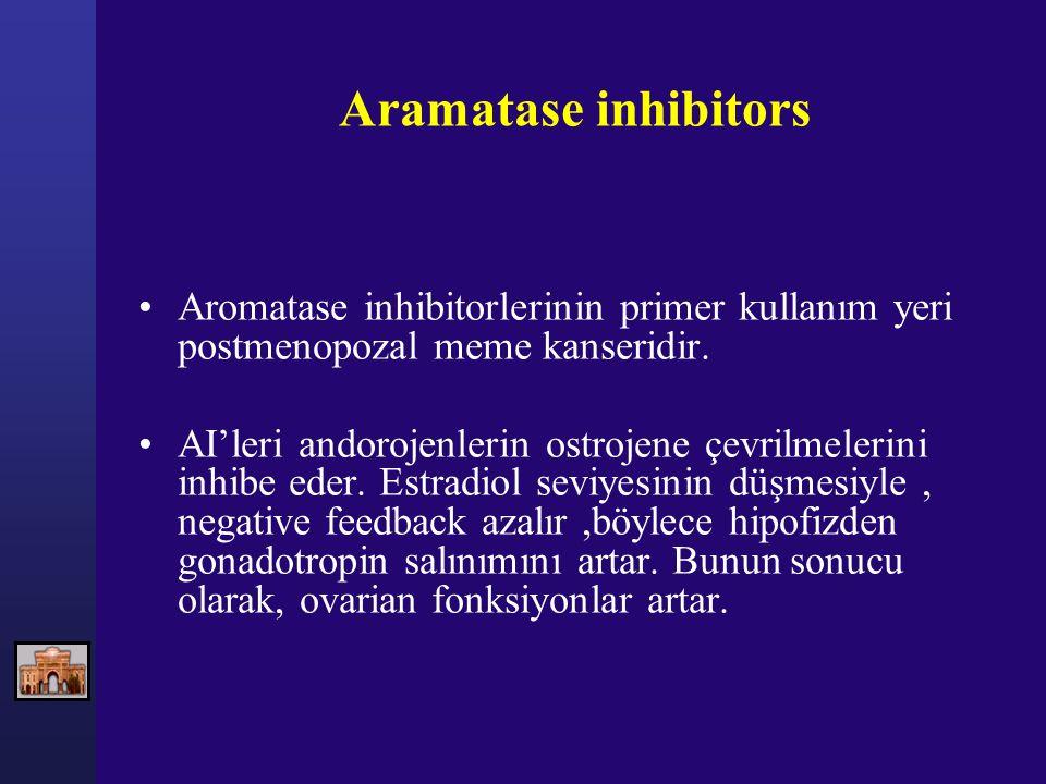 Aramatase inhibitors Aromatase inhibitorlerinin primer kullanım yeri postmenopozal meme kanseridir. AI'leri andorojenlerin ostrojene çevrilmelerini in