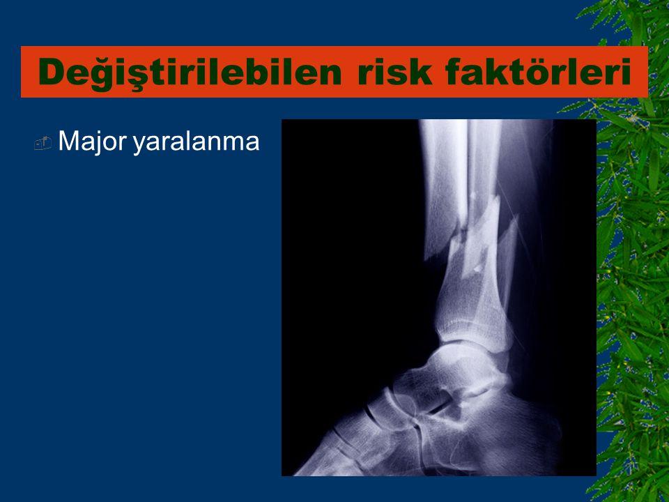  Major yaralanma Değiştirilebilen risk faktörleri