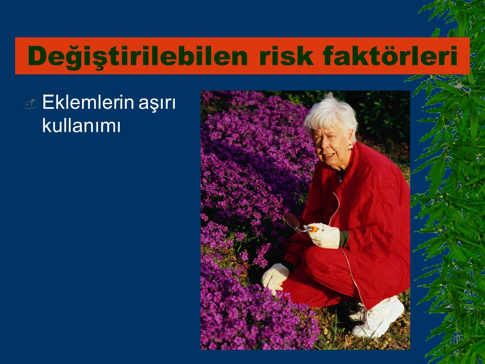  Eklemlerin aşırı kullanımı Değiştirilebilen risk faktörleri