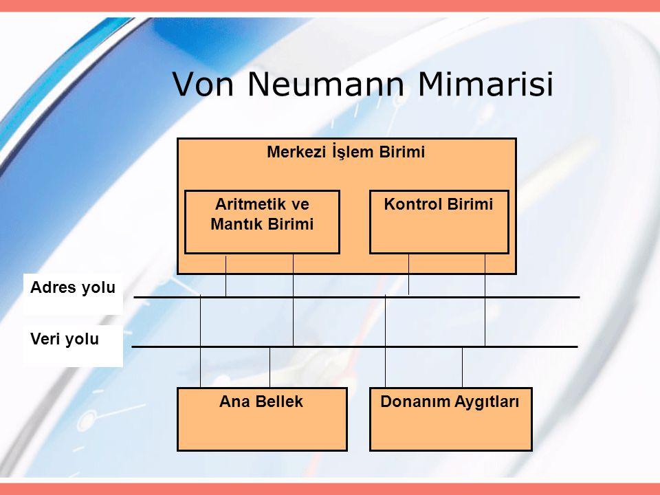 Von Neumann Mimarisi Merkezi İşlem Birimi Donanım Aygıtları Aritmetik ve Mantık Birimi Ana Bellek Kontrol Birimi Adres yolu Veri yolu