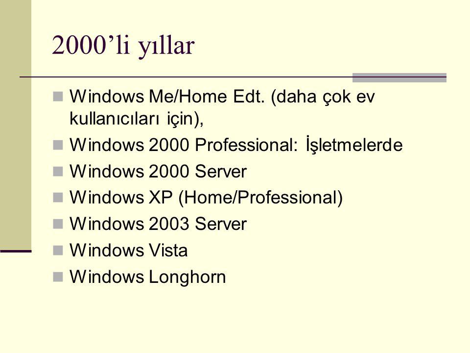 2000'li yıllar Windows Me/Home Edt. (daha çok ev kullanıcıları için), Windows 2000 Professional: İşletmelerde Windows 2000 Server Windows XP (Home/Pro