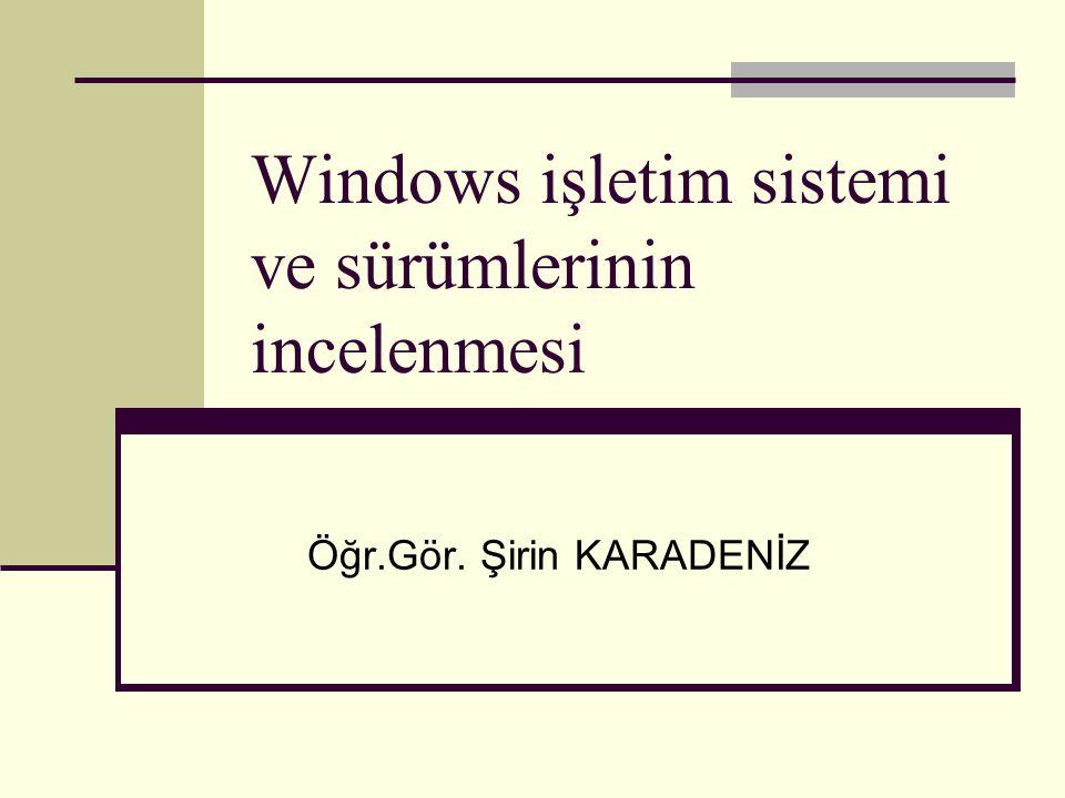 Windows işletim sistemi ve sürümlerinin incelenmesi Öğr.Gör. Şirin KARADENİZ