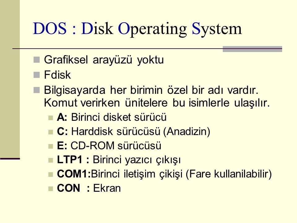 DOS : Disk Operating System Grafiksel arayüzü yoktu Fdisk Bilgisayarda her birimin özel bir adı vardır. Komut verirken ünitelere bu isimlerle ulaşılır