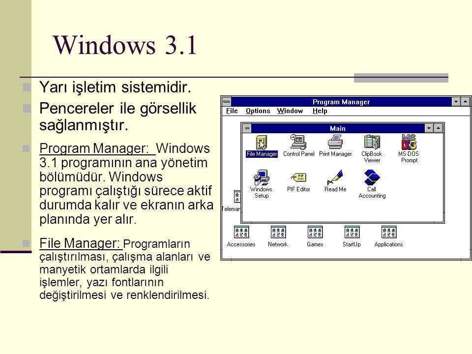 Windows 3.1 Yarı işletim sistemidir. Pencereler ile görsellik sağlanmıştır. Program Manager: Windows 3.1 programının ana yönetim bölümüdür. Windows pr