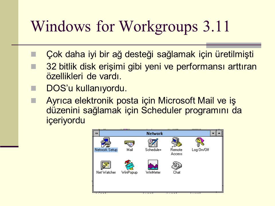 Windows for Workgroups 3.11 Çok daha iyi bir ağ desteği sağlamak için üretilmişti 32 bitlik disk erişimi gibi yeni ve performansı arttıran özellikleri