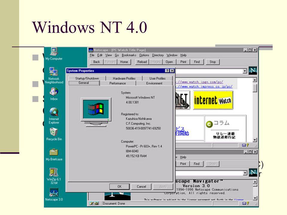Windows NT 4.0 Windows for Workgroups 3.11'dan sonra çıkan bir ağ işletim sistemidir. Win 95'in arayüzüne sahiptir Sunucu-istemci mimarisine uygundur.