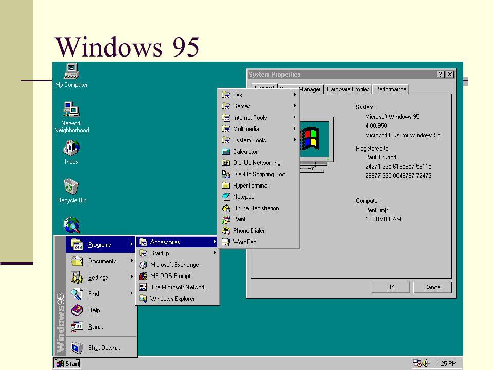 Windows 95'in getirdikleri Yeni Windows 95 masaüstü Yardım Alma Başlat düğmesi ile programları ve belgeleri başlatmak Menüleri ve masaüstünü özelleştirmek Programlar, dosyalar ve belgeler için kısayol tuşları oluşturmak Uzun dosya isimleri verebilmek.