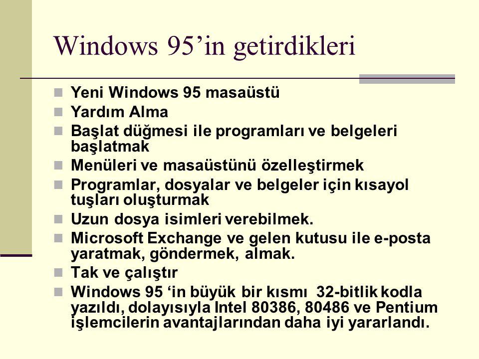 Windows 95'in getirdikleri Yeni Windows 95 masaüstü Yardım Alma Başlat düğmesi ile programları ve belgeleri başlatmak Menüleri ve masaüstünü özelleşti