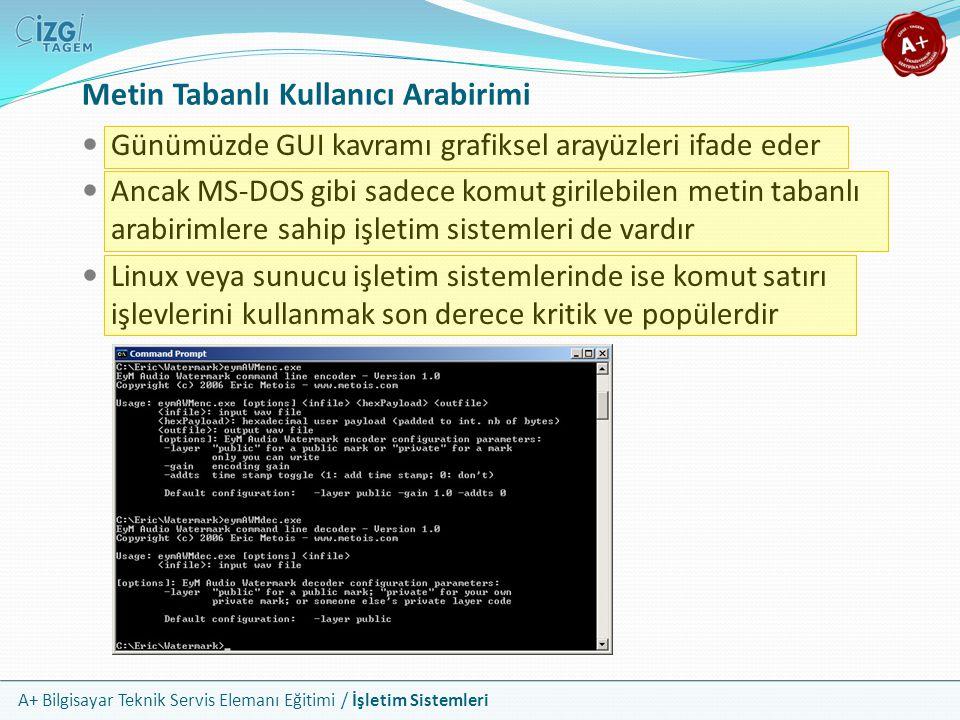 A+ Bilgisayar Teknik Servis Elemanı Eğitimi / İşletim Sistemleri Metin Tabanlı Kullanıcı Arabirimi Günümüzde GUI kavramı grafiksel arayüzleri ifade ed