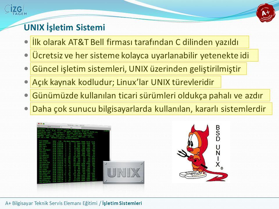 A+ Bilgisayar Teknik Servis Elemanı Eğitimi / İşletim Sistemleri UNIX İşletim Sistemi İlk olarak AT&T Bell firması tarafından C dilinden yazıldı Ücret