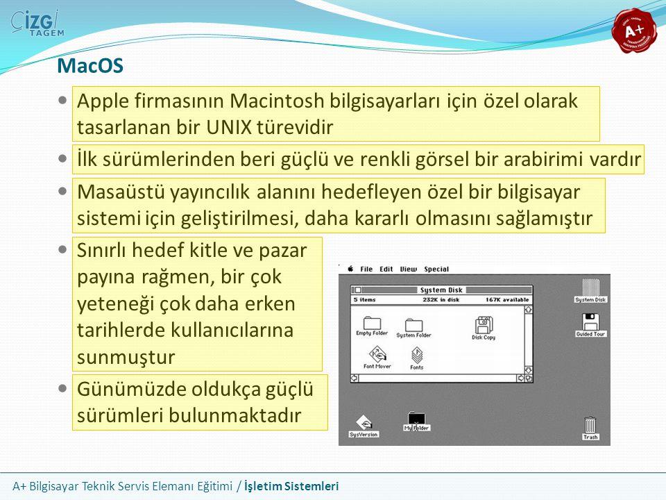 A+ Bilgisayar Teknik Servis Elemanı Eğitimi / İşletim Sistemleri Apple firmasının Macintosh bilgisayarları için özel olarak tasarlanan bir UNIX türevi