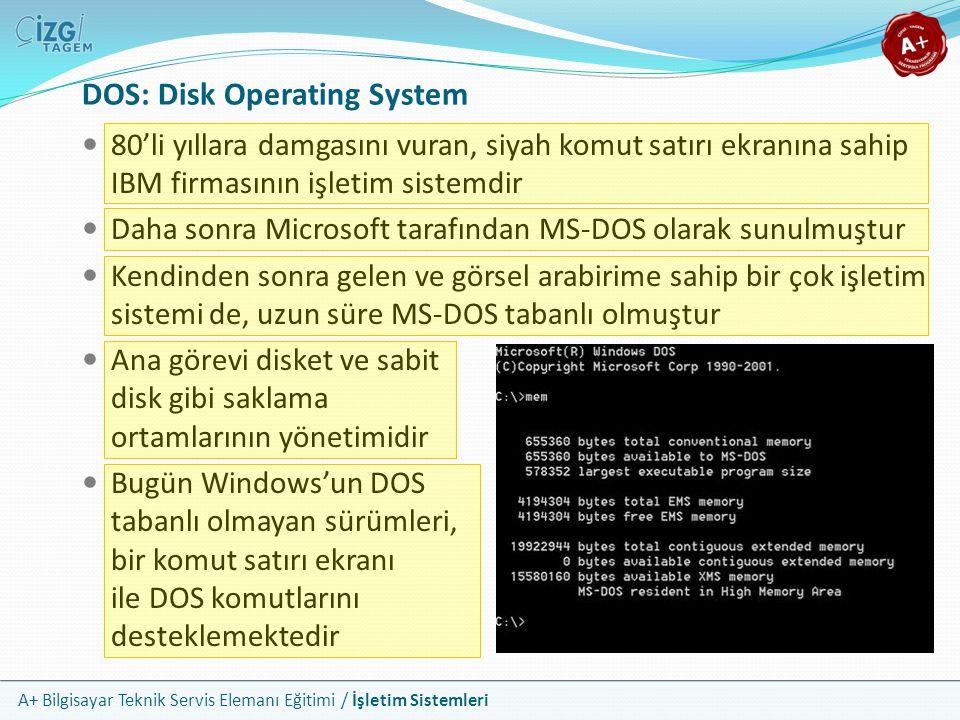 A+ Bilgisayar Teknik Servis Elemanı Eğitimi / İşletim Sistemleri DOS: Disk Operating System 80'li yıllara damgasını vuran, siyah komut satırı ekranına