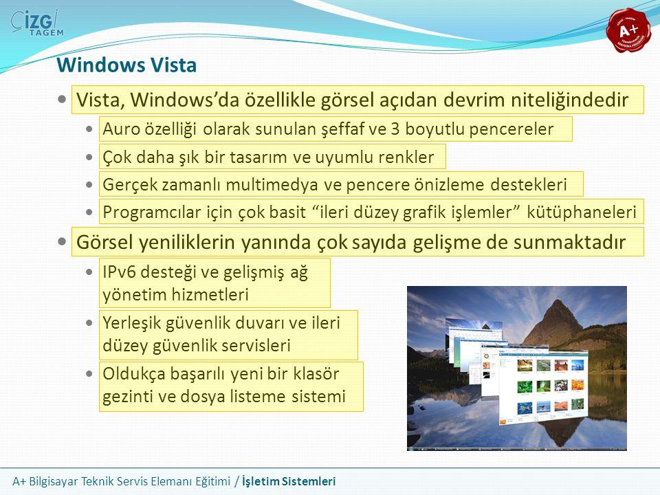 A+ Bilgisayar Teknik Servis Elemanı Eğitimi / İşletim Sistemleri Windows Vista Vista, Windows'da özellikle görsel açıdan devrim niteliğindedir Auro öz