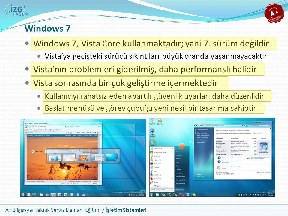 A+ Bilgisayar Teknik Servis Elemanı Eğitimi / İşletim Sistemleri Windows 7 Windows 7, Vista Core kullanmaktadır; yani 7. sürüm değildir Vista'ya geçiş
