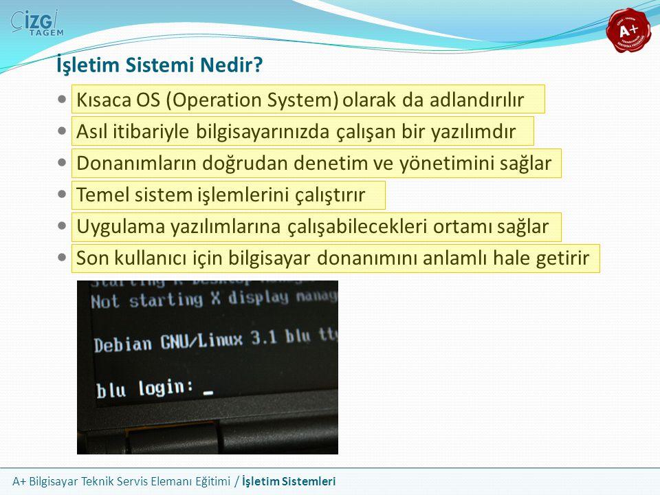 A+ Bilgisayar Teknik Servis Elemanı Eğitimi / İşletim Sistemleri İşletim Sistemi Nedir? Kısaca OS (Operation System) olarak da adlandırılır Asıl itiba