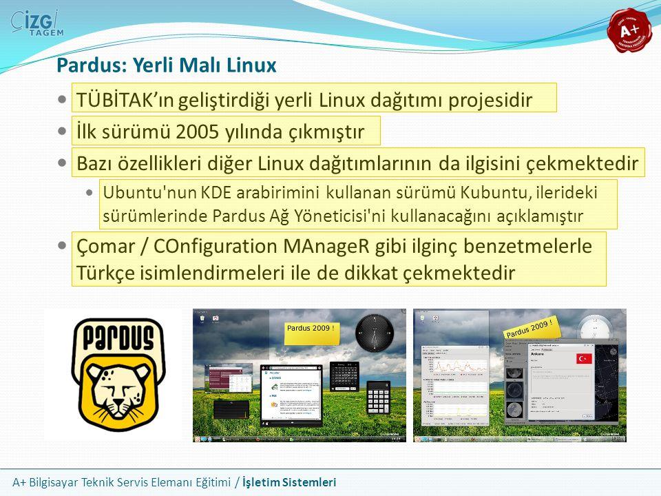 A+ Bilgisayar Teknik Servis Elemanı Eğitimi / İşletim Sistemleri Pardus: Yerli Malı Linux TÜBİTAK'ın geliştirdiği yerli Linux dağıtımı projesidir İlk