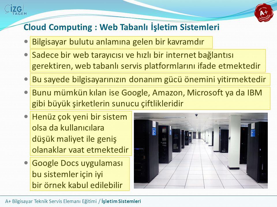 A+ Bilgisayar Teknik Servis Elemanı Eğitimi / İşletim Sistemleri Bilgisayar bulutu anlamına gelen bir kavramdır Sadece bir web tarayıcısı ve hızlı bir