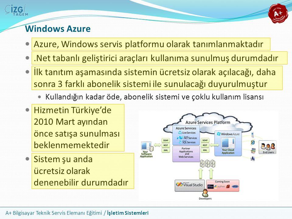 A+ Bilgisayar Teknik Servis Elemanı Eğitimi / İşletim Sistemleri Windows Azure Azure, Windows servis platformu olarak tanımlanmaktadır.Net tabanlı gel