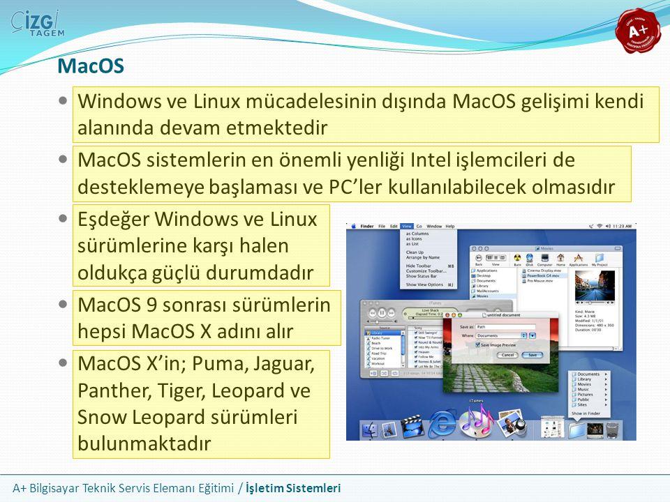 A+ Bilgisayar Teknik Servis Elemanı Eğitimi / İşletim Sistemleri MacOS Windows ve Linux mücadelesinin dışında MacOS gelişimi kendi alanında devam etme