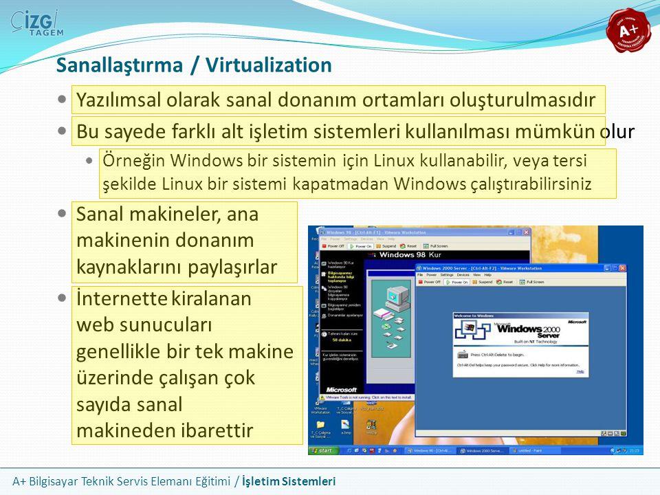 A+ Bilgisayar Teknik Servis Elemanı Eğitimi / İşletim Sistemleri Yazılımsal olarak sanal donanım ortamları oluşturulmasıdır Bu sayede farklı alt işlet