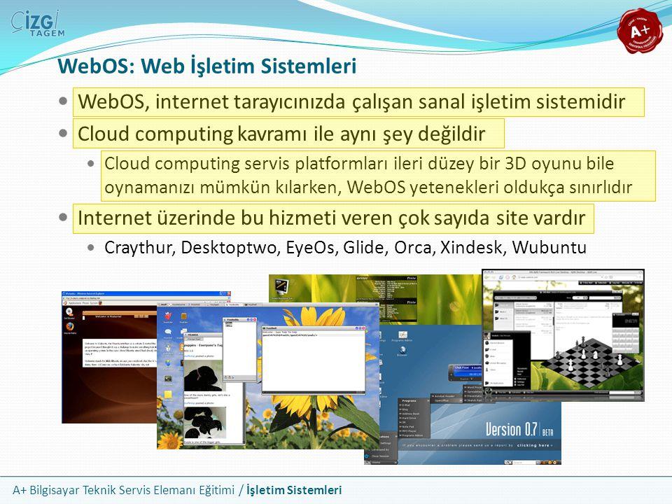 A+ Bilgisayar Teknik Servis Elemanı Eğitimi / İşletim Sistemleri WebOS, internet tarayıcınızda çalışan sanal işletim sistemidir Cloud computing kavram