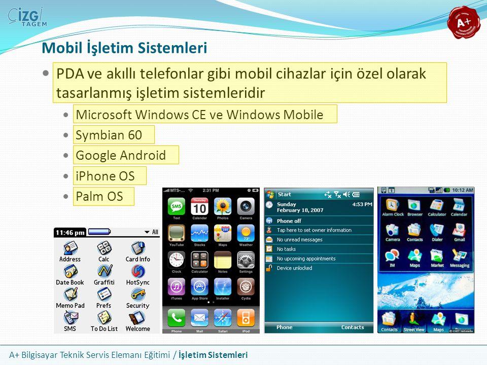 A+ Bilgisayar Teknik Servis Elemanı Eğitimi / İşletim Sistemleri Mobil İşletim Sistemleri PDA ve akıllı telefonlar gibi mobil cihazlar için özel olara