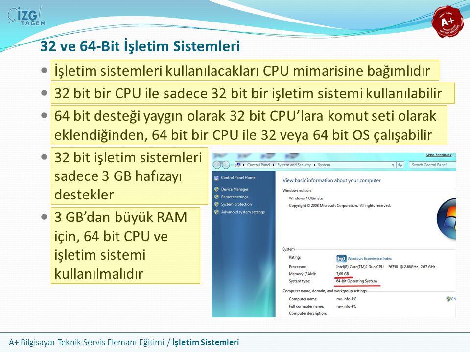 A+ Bilgisayar Teknik Servis Elemanı Eğitimi / İşletim Sistemleri 32 ve 64-Bit İşletim Sistemleri İşletim sistemleri kullanılacakları CPU mimarisine ba