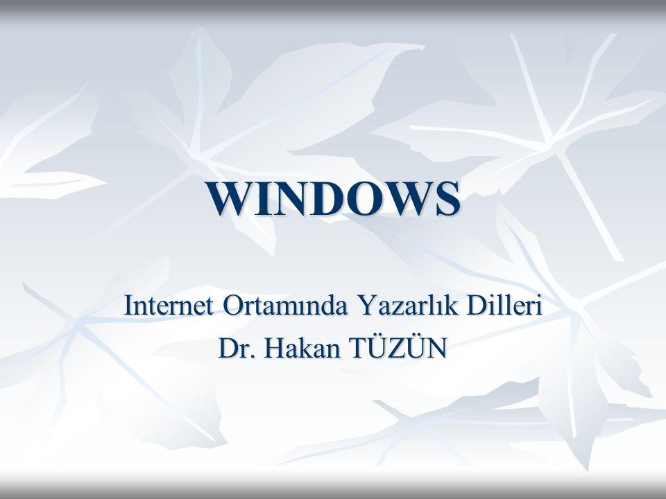 WINDOWS Internet Ortamında Yazarlık Dilleri Dr. Hakan TÜZÜN