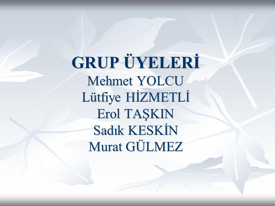 GRUP ÜYELERİ Mehmet YOLCU Lütfiye HİZMETLİ Erol TAŞKIN Sadık KESKİN Murat GÜLMEZ