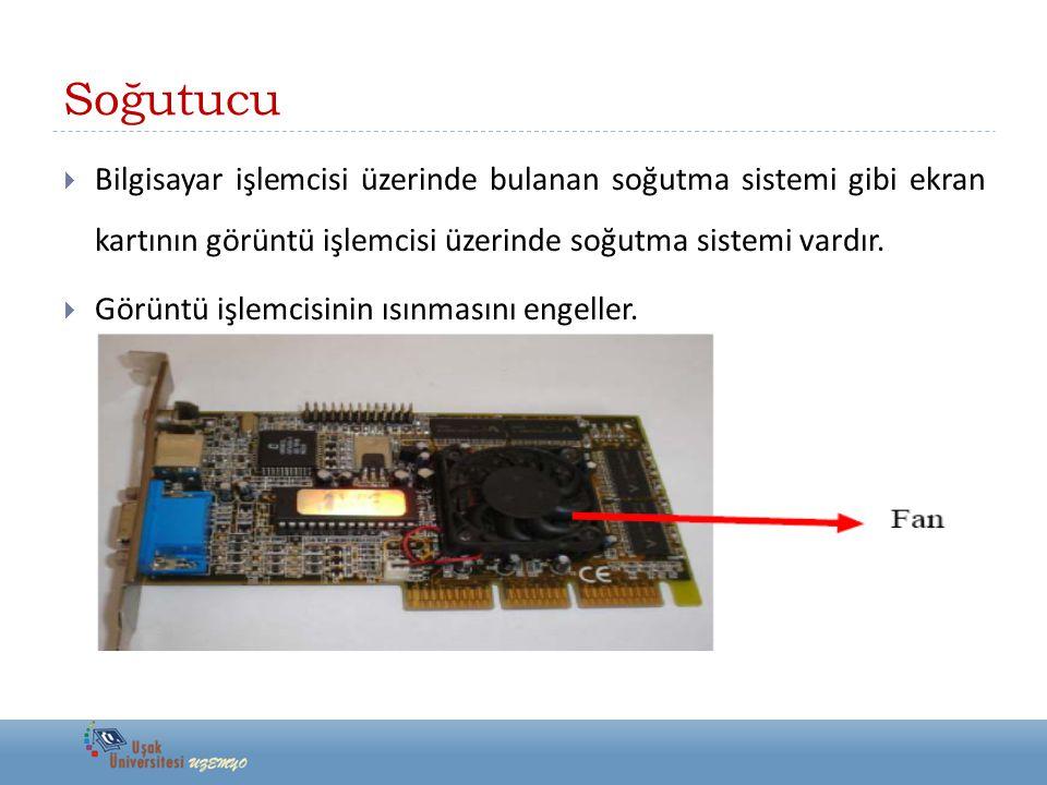 Soğutucu  Bilgisayar işlemcisi üzerinde bulanan soğutma sistemi gibi ekran kartının görüntü işlemcisi üzerinde soğutma sistemi vardır.  Görüntü işle